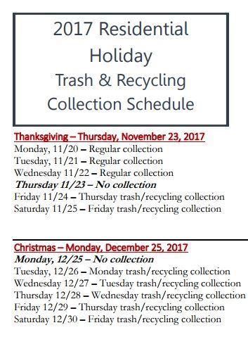 Trash and Recycling Holiday Schedule