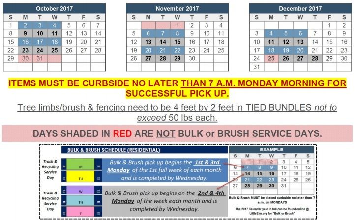 Trash and Recycling 4th Quarter Bulk Schedule
