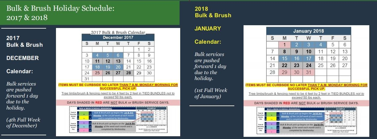 2017 to 2018 Bulk Holiday Schedule