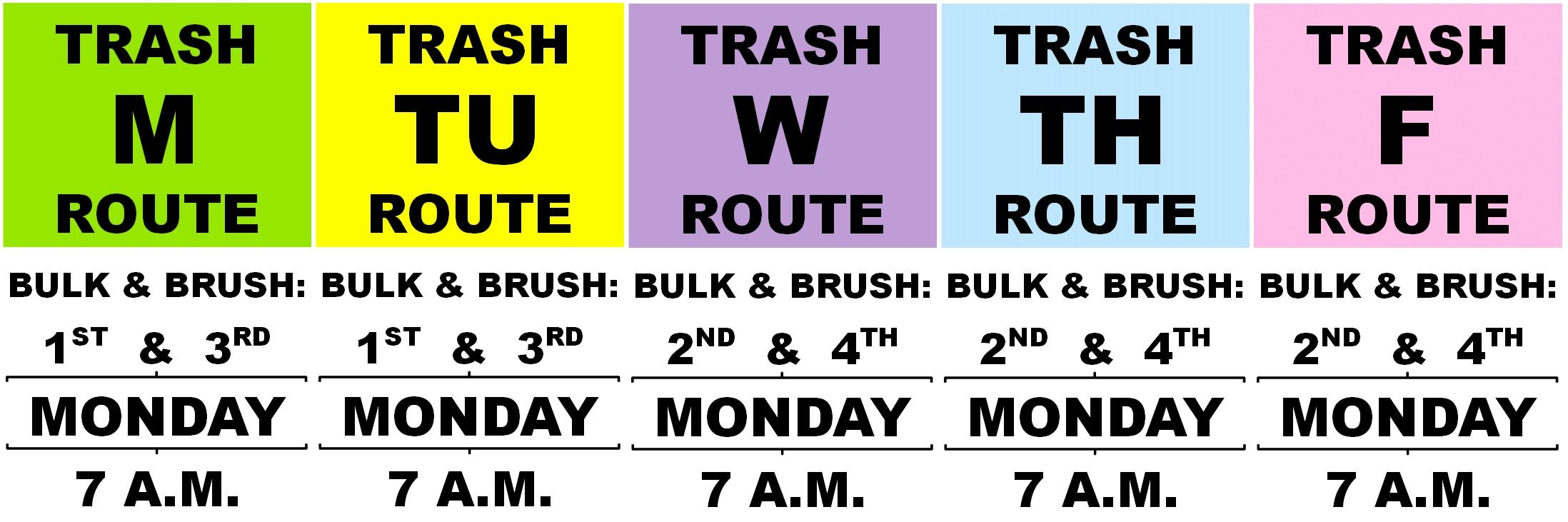 Bulk and Brush Services: Calendars, Maps, and FAQ | Town of