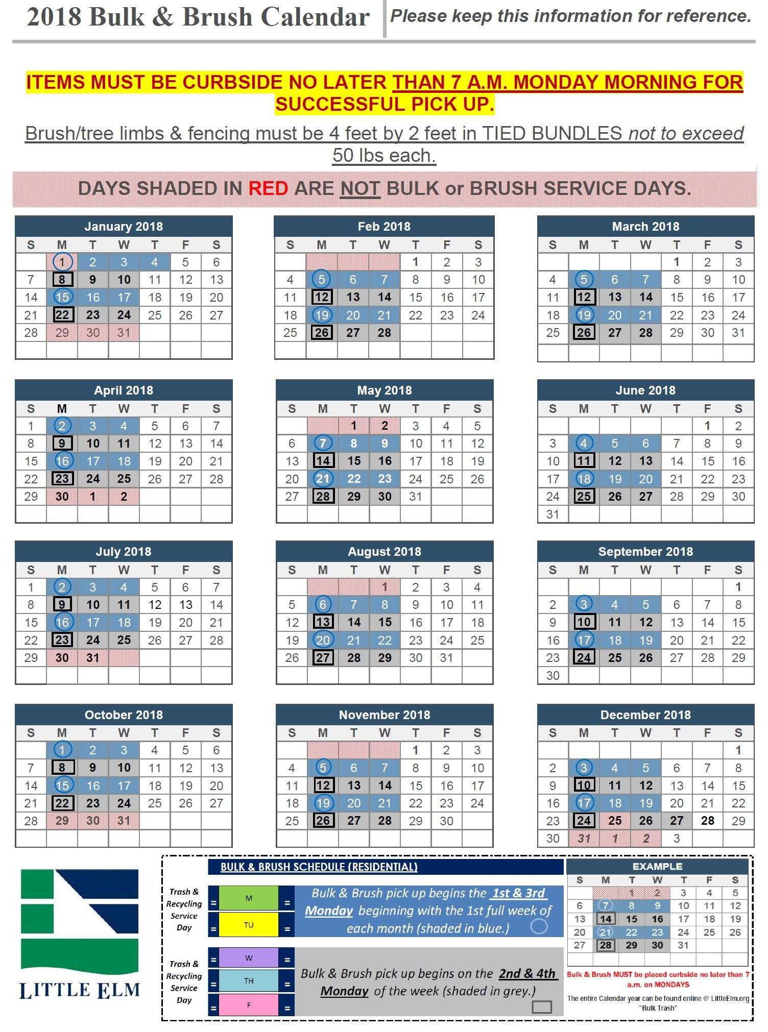 2018 Bulk and Brush Calendar