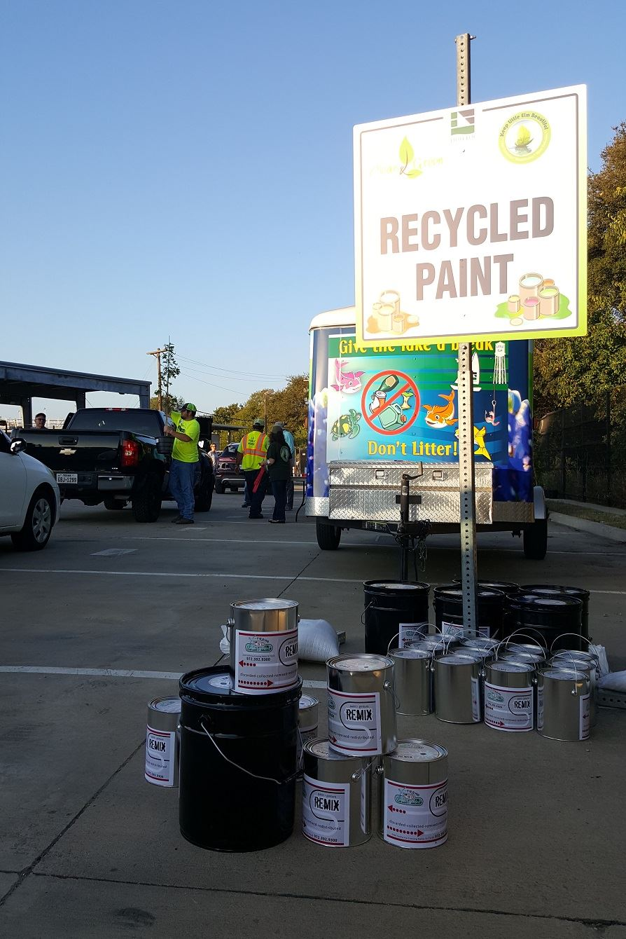 45 Gallons of Recycled Paint for reuse distributed at Clean AND Green Photo by Michelle Kuzov KLEB
