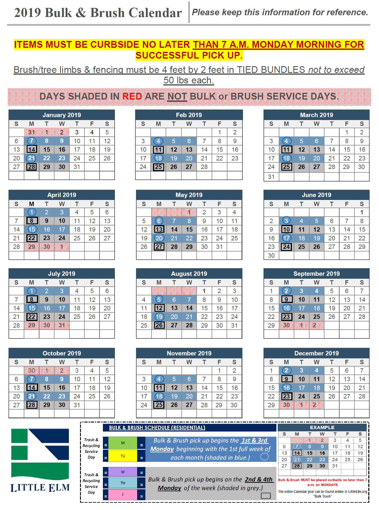 Bulk and Brush Services: Calendars, Maps, and FAQ | Town of Little